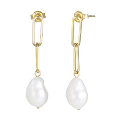 Baroque Pearl Links Earrings in 18K Gold Plating product photo