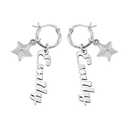 Siena Drop Name Earrings in Sterling Silver product photo