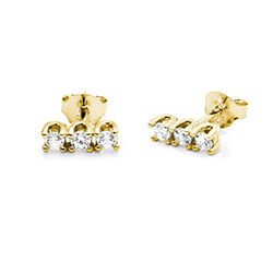 Cubic zirconia stud earrings in gold plating product photo