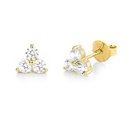 Flower stud earrings with cubic zirkonia in gold plating product photo
