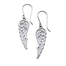 Angel Wing Earrings in Silver product photo
