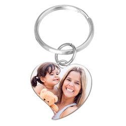 Engraved Photo Keychain - Heart Shaped product photo