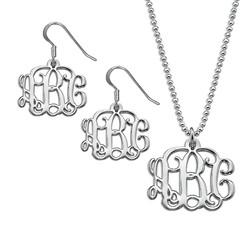 Mix and Match Small Monogram Necklace & Earrings Set product photo