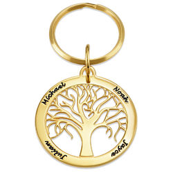 Personalized Family Tree Keychain in Gold Plating product photo