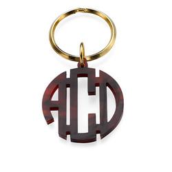 Acrylic Block Monogram Keychain with Gold Plated Key Ring product photo