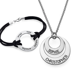 Jewelry for Mom: Engraved Disc Necklace + Bracelet product photo