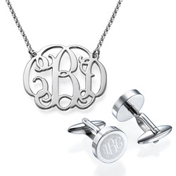 For Him and Her: Monogram Cufflinks + Monogram Necklace product photo