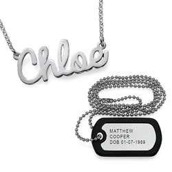 For Him and Her: Dog Tag Necklace + Name Necklace product photo