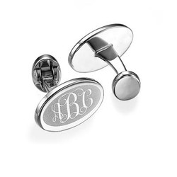 Monogrammed Cufflinks in Rhodium Plating product photo