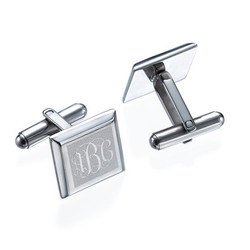 Monogrammed Cufflinks in Stainless Steel product photo