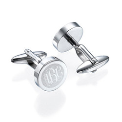 Stainless Steel Round Monogrammed Cufflinks product photo