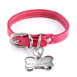 Personalized Cat or Dog Id Tag Leather Collar Bone Shaped in Small product photo