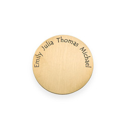 Floating Locket Plate - Gold Plated Disc with Engraved Names product photo