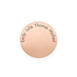 Floating Locket Plate - Rose Gold Plated Disc with Engraved Names product photo