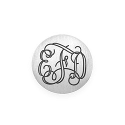 Floating Locket Plate - Silver Plated Disc with Monogram product photo