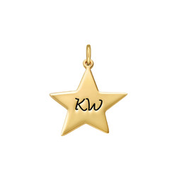 Engraved Star Charm - Gold Plated product photo