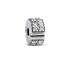 Stopper Silver Bead with Cubic Zirconia product photo