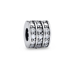 Round Silver Bead with Cubic Zirconia product photo