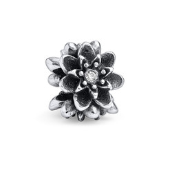 Flower Silver Bead with Cubic Zirconia product photo