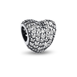 Curved Heart Silver Bead with Cubic Zirconia product photo