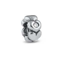 Hearts Silver Bead with Cubic Zirconia product photo