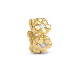Flowers Silver Gold Plated Bead with Cubic Zirconia product photo
