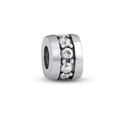 Silver Bead with Cubic Zirconia product photo