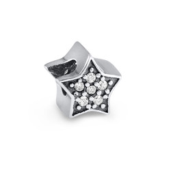 Large Star Bead with Cubic Zirconia product photo