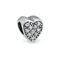 Heart Shaped Silver Bead with Cubic Zirconia product photo