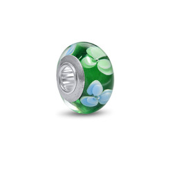 White & Green Flowers Glass Bead product photo
