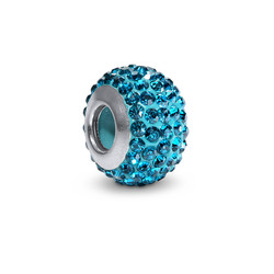 Blue Topaz Birthstone Bead with Cubic Zirconia product photo