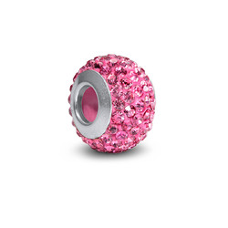 Rose Quartz Birthstone Bead with Cubic Zirconia product photo