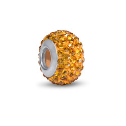 Yellow Topaz Birthstone Bead with Cubic Zirconia product photo