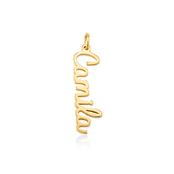 Vertical Name Pendant in Cursive in Gold Plated product photo