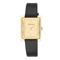 Women's Gold-Tone and Black Leather Strap Watch product photo