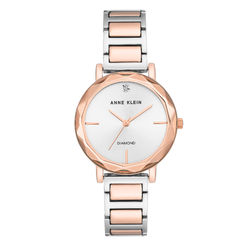 Women's Diamond-Accented Silver-Tone and Rose Gold-Tone Bracelet Watch product photo
