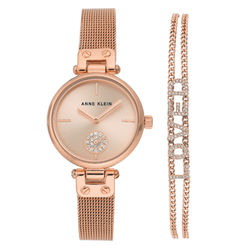 Women's Swarovski Crystal Accented Rose Gold-Tone Mesh Watch and product photo