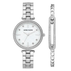 Women's Swarovski Crystal Accented Silver-Tone Watch and Bracelet Set product photo