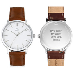 Hampton Minimalist Brown Leather Band Watch for Men with White Dial product photo