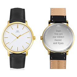 Hampton Engraved Minimalist Watch for Men with Black Leather Strap product photo
