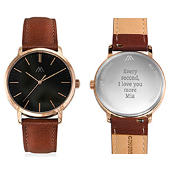 Hampton Personalized Minimalist Brown Leather Band Watch for Men product photo