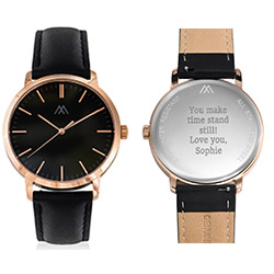 Hampton Personalized Minimalist Black Leather Band Watch for Men product photo