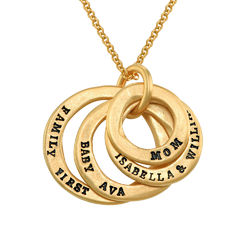 Stamped Family Disc Gold Plated Necklace product photo