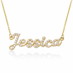 Pave Diamond Name Necklace- 14k solid gold product photo