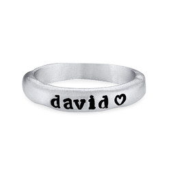 Stackable Engraved Ring with Names in Sterling Silver product photo