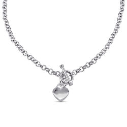 Oval Link Necklace with Sterling Silver Heart Charms & Toggle Clasp product photo
