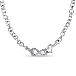 1/10 CT. T.W. Diamond Forever Love Necklace in Sterling Silver product photo