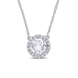 8.0mm Lab-Created White Sapphire Frame Necklace in Sterling Silver product photo
