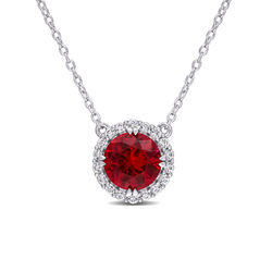 8.0mm Lab-Created Ruby and White Sapphire Frame Necklace in Sterling product photo