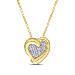 1/6 CT. T.W. Diamond Heart Necklace in Gold Plated Sterling Silver product photo